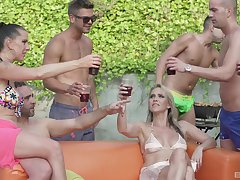 Texas Patti and Lana Vegas enjoy orgy by transmitted to pool at hand their friends