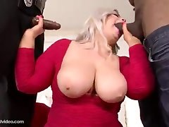 A uncompromisingly big well done woman blond hair toddler has a threesome orgy with team a few ebony cocks