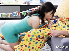 Milf sucks thick clown dick after bday pack