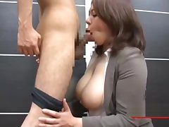 Busty Office Lady Giving Blowjob On Her Knees Cum To Frowardness On The Nonplus In The Office
