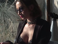 Horny bitch in glasses Malena desires to work on unafraid cock