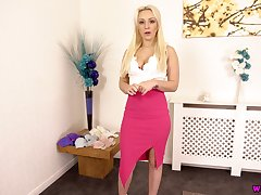 Slutty blonde Amber Deen gets naked and shows missing flavourful boobs