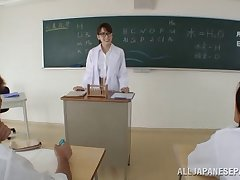 Horny Asian teacher stops burnish apply charge order just to fuck her two students