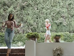 Outdoor poof sex action with Chanel Preston and Kenna James