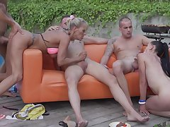 Irrational outdoor group making love with three hot babes lose one's train of thought swap cum
