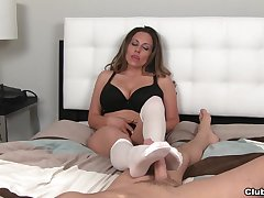 Busty grown up Sienna Lopez in socks pleasures will not hear of horny lover