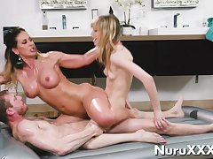 Oil Nuru Threesome Massage with young ebony and blonde aj applegate