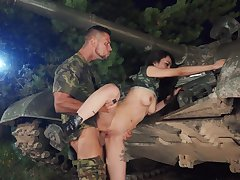 Army hardcore scenes nearby a young Asian added to her officer in charge
