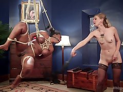 Busty ebony Lisa Tiffian is expertly tied and and fisted by hot Mona Wales