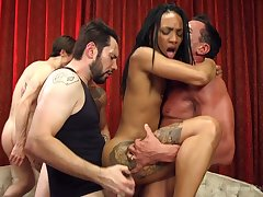 Crazy gangbang excrete for the ebony whore with small special