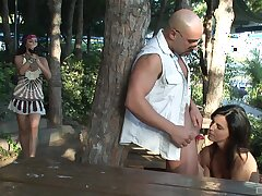 Outdoor anal threesome near girlfriend Laia Prats with an increment of her friend