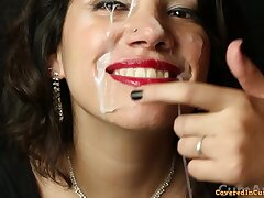 After party blowjob and huge freak facial