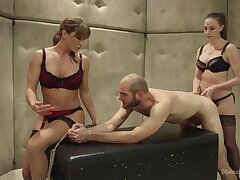 Helpless coxcomb gets peentrated by Chanel Preston and Ariel X