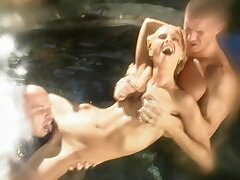 Dasha enjoys property her pussy licked coupled with fucked by two dudes