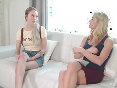 Morning lesbian sex between pornstars Halcyon Siren with the addition of Lily Larimar