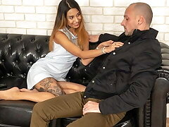 DEBT4k. Brilliant teen Roxy Lips satisfied man who came be fitting of
