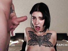 Tattooed teenage blowing off and making love