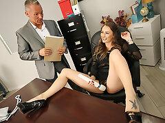 Big jugs boss Natasha Starr fucks her new employee