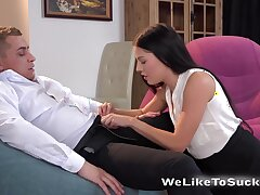 Lecherous young brunette Eveline Neill sucks a dick 69 show off on the first date