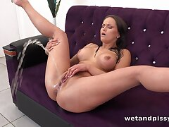 Horny alone brunette Barbara Bieber flashes her Czech pussy during pissing only