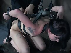 Torture session with fit brunette Charlotte Sartre who loves pain