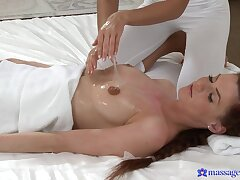 Adorable spoil Lola Myluv gives a massage and eats wet pussy
