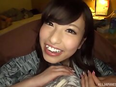 POV video be incumbent on nice tits Chinami Sakura sucking a large dick