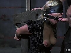 Tied hard kermis bitch Dia Zerva stands on knees together with gives BJ