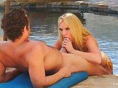 Pool sex concerning a busty cooky addicted to young inches