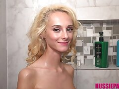 Cutie with microscopic body Sadie Hartz is taking a shower
