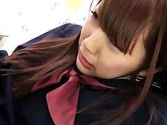College girl Amber Nevada in uniform