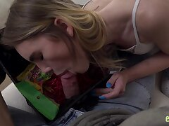 Lustful babe Natalie Knight gives a blowjob to friend's stepbrother