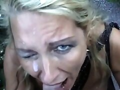 Pierced Blonde Jocular mater Gets A Facial Outdoors