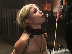 Ricochet blonde sub in lingerie whipped