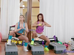 Oversexed babes Sybil Kailena and Paula Shy have sex in the gym