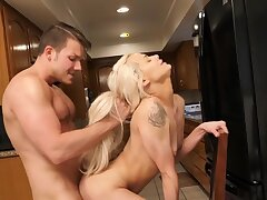 Nice quickie in the kitchen with small breast blondie Elsa Jean