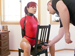 Cathedra Bound in Red Thong Bodysuit