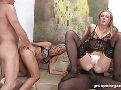 Prurient perfection for a hot blonde and her stepdaughter in scenes of anal foursome