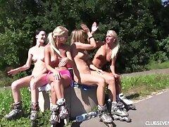 Naked rollerblading