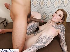 Tattooed cutie Penny Archer opens her legs be incumbent on a large black cock