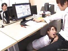 Naughty secretary Ayami Shunka enjoys sucking a dick take put emphasize office