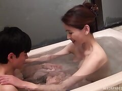 Amateur Japanese wife Midou Kanae drops on her knees to give a BJ