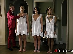 Ivy Lebelle, Ryan Keely and Bonnie Rotten patch cum after hardcore reverse gangbang