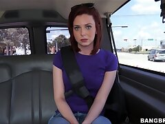 Hot Emma Evins gets talked secure blowing a firm cock in the car