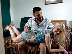 Dazzling blonde ass spanked and fucked by her stepdad