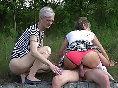 Matures share cock in outdoor for a wild tryout