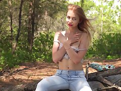 Skinny hottie Dominica enjoys rubbing her wet pussy doused