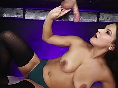 MILF Mio Moore Cum Blasted on tap the Miling Table
