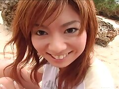 Outdoors video of pretty Aki Katase giving head with the addition of getting dicked