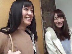 Japanese FFM trine with naughty Minato Riku & her bestie